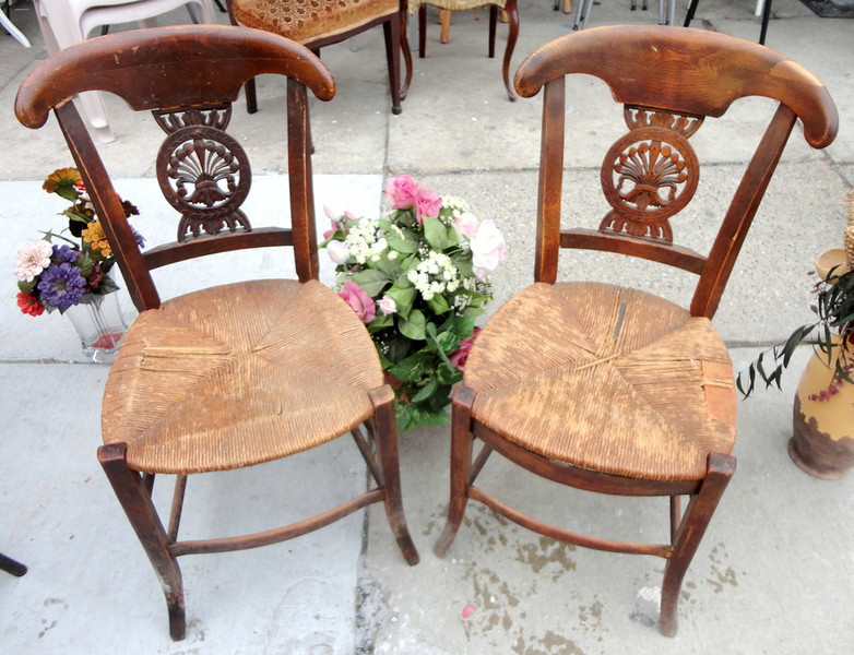 Set of 2 Antique Solid Wood Closed Wicker Accent Chairs.  15 x 18 x 34.  <b>$125 for the set.</b>