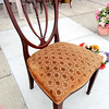 Antique Dark Wood Upholstered Accent Chair.  21 x 20 x 36.  <b>$95</b>