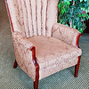 Premium Solid Wood Frame Scallop Back Accent Chair in Excellent Condition.  32 x 28 x 38.  <b>$125</b>