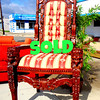 Magnificent Uniquely Styled Solid Wood Giant's Chair in Excellent Condition.  One look at the picture and you're intrigued, but after you realize how unbelievably tall this incredible giant chair is, you'll be completely amazed.  Standing at over 8 1/2 feet tall, this chair features impressive wood carving and nearly new upholstery.  If you're a business owner looking for something that grabs customer attention or if you have a fine home with high ceilings, then this magnificent giant's chair offers everything you are looking for and more.  49 x 47 x 104.  <b></b>