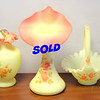 Unique 3-Piece Fenton Opaline Glass Set.  <b>$95 for the set.</b>