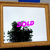 Elegant Gold-Framed Beveled Accent Mirror.  36 x 30.  <b>$125</b>