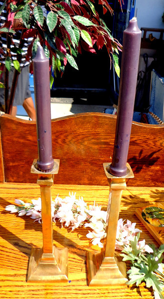 Set of 2 9-Inch Tall Brass Candlestick Holders.  <b>$25</b>