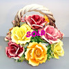 Elegant Italian Porcelain Floral Rose Bouquet in Excellent Condition.  15 x 14.  <b>$125</b>