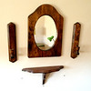 Beautiful Solid Wood 4-Piece Wall Mount Mirror Display with Candle Holders