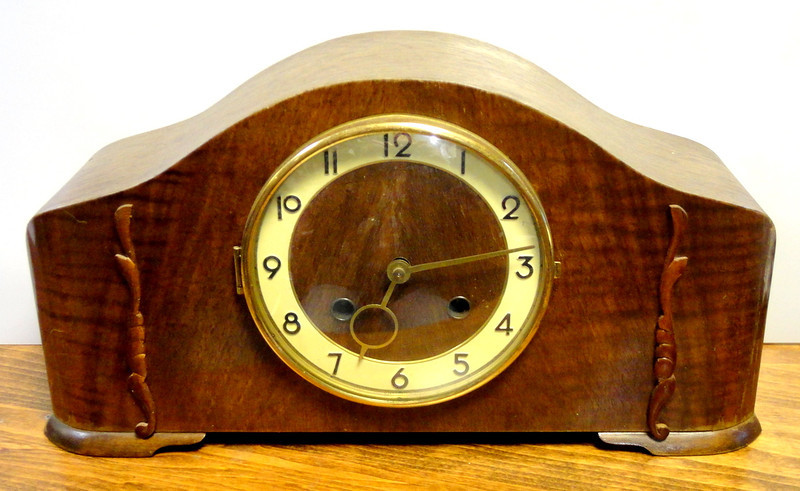 Antique Mantle Clock with Key.  16 x 6 x 9.  <b>$125</b>