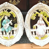 Guitarist &amp; Maiden - Distinctive Set of 2 French Provincial Glazed Oval Wall Hangings.  14 x 19.  <b></b>