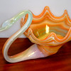 Retro Colored Glass Candy Dish   13 x 9 x 7 1/2.  <b>$35</b>