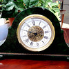 Vintage-Look Green Marble Desk Clock.  12 x 4 x 6.  <b>$85</b>