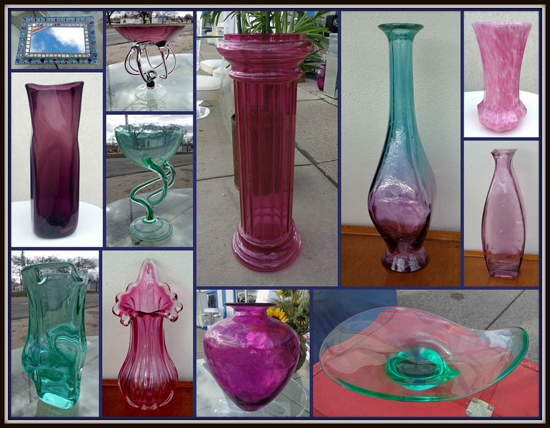 Things You Might Not Expect Are Also Available At Fred's.  Interesting glassware pieces are often available at our stores.  You may find just the right piece to add that finishing touch to your home.  The items appearing in this collage recently arrived at our Warren store.  No matter what accent piece you discover, Fred will have a low price on it that's sure to put a smile on your face.  Stop by and have a look.