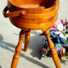 American Colonial Style Sewing Basket with Traditional Handle on Stand with Spindle Legs.    <b>$35</b>