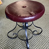Wrought Iron and Leather Vanity Stool