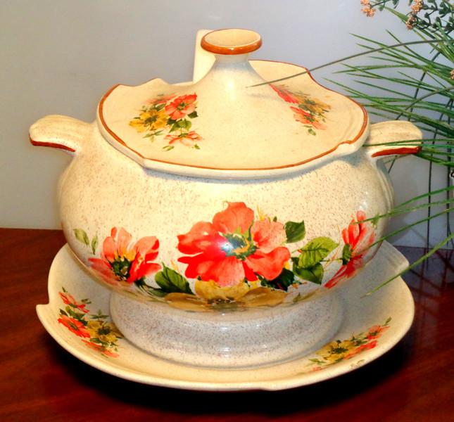 Painted Poppies Porcelain Serving Pot.  <b>$50</b>