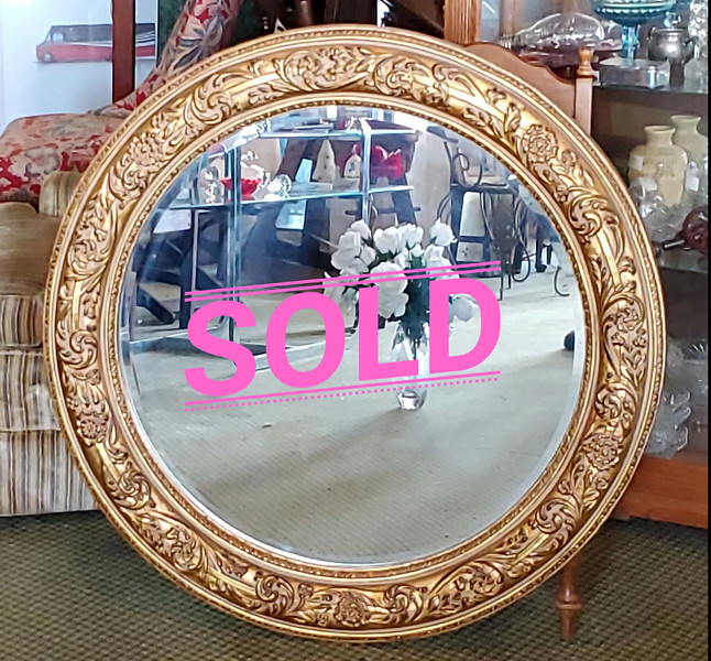 Ornate 40-Inch Diameter Wall Mirror