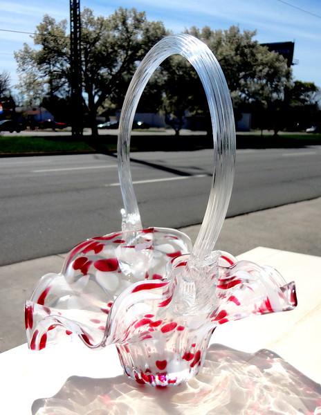 Crystal Glass Handled Basket.  <b>$40</b>