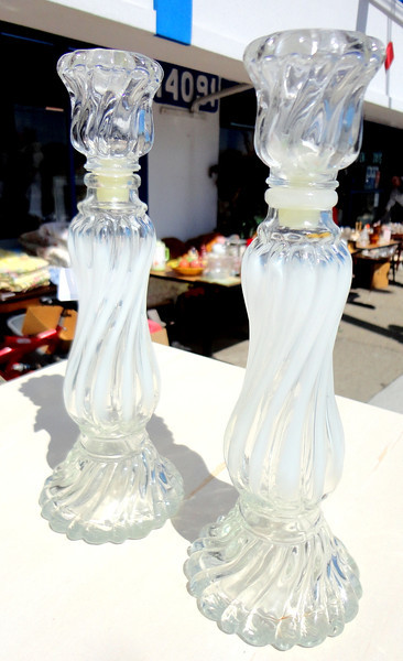 Set of 2 Cut Glass Candle Holders.  4 x 10.  <b>$25 for the set.</b>