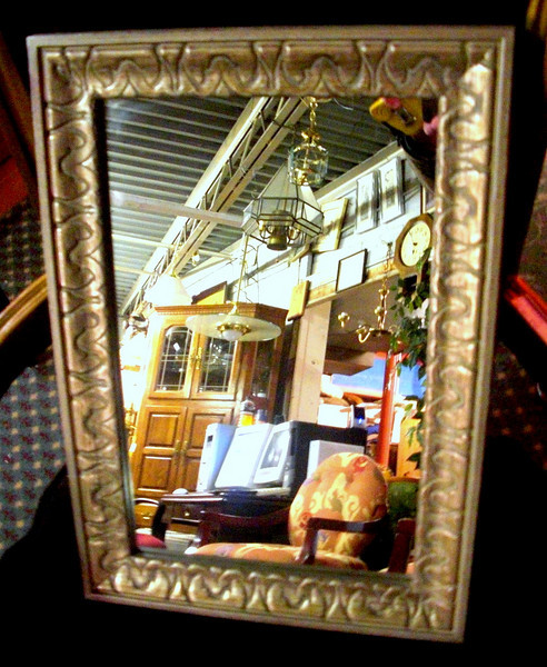 Gold Hued Framed Accent Mirror.  13 x 19.  <b>$25</b>
