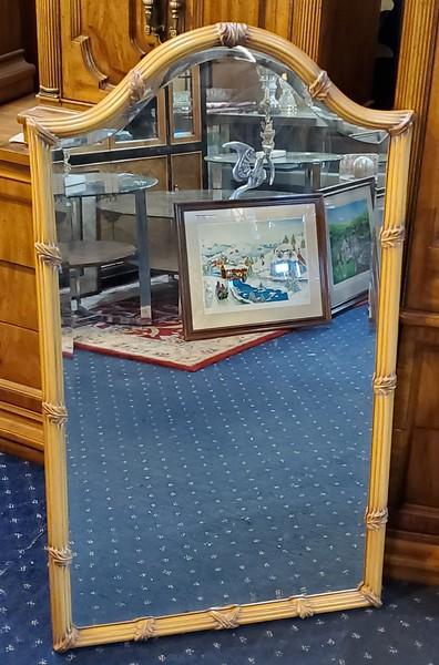 Rattan Framed Beveled Wall Mirror