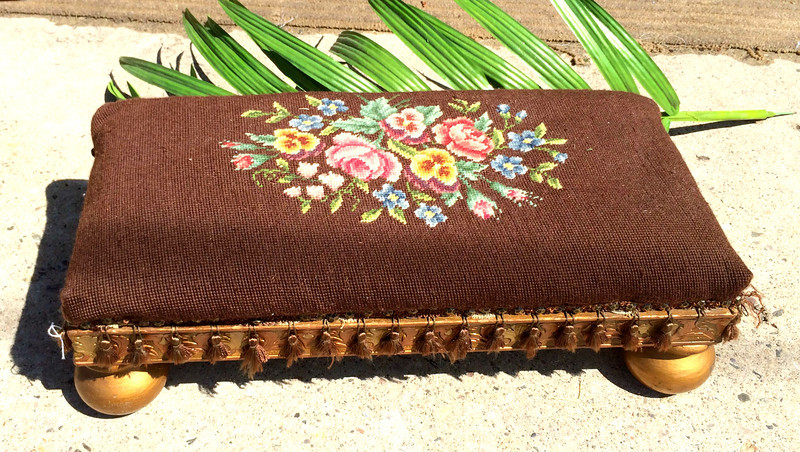 Antique Needlepoint Foot Rest / Footstool.  22 x 10 x 8.  <b>$125</b>