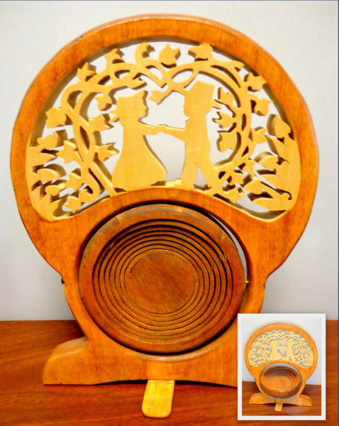 Unique Solid Wood His & Hers Wedding Band Tray.  Tray flips into closed and open positions (as shown).  A perfect gift idea.  8 x 10.  <b>$50</b>