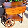 Solid Wood Drop Leaf Wagon Wheel Serving Cart.  43 x 21 x 33 1/2.  <b>$125</b>