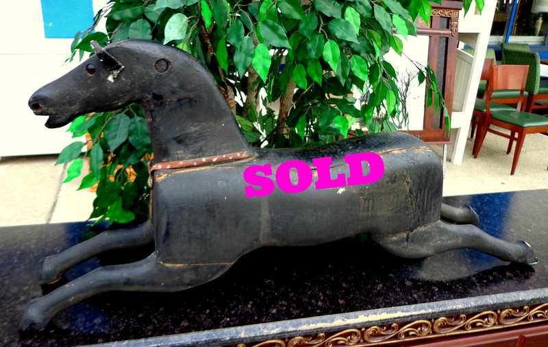 Antique Solid Wood Hand-Carved Horse.  39 x 8 x 18.  <b>$450</b>