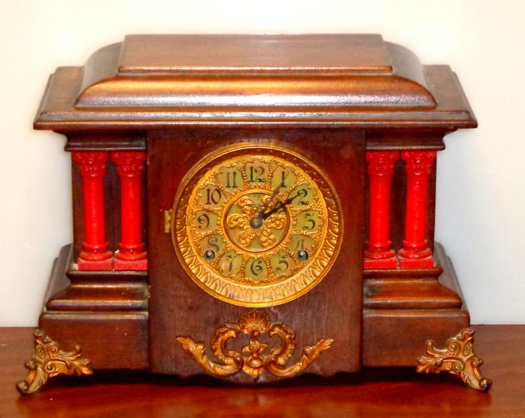 Antique Mantle Clock.  14 1/2 x 7 x 12.  <b>$85</b>