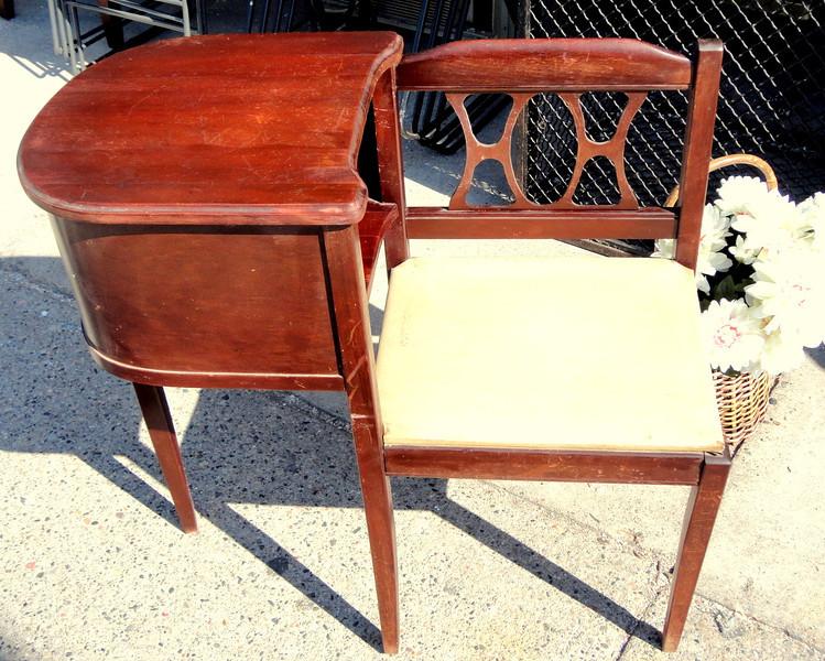 Unique Solid Wood Antique Chair Table.  30 x 14 x 31.  <b>$125</b>
