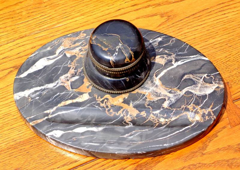 Antique French Marble Inkwell