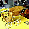 Unique Antique Wicker Mini Baby / Doll Stroller.  25 x 12 x 26.   <b></b>