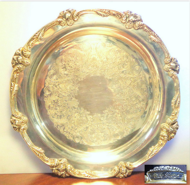 Elegant King George III Pewter & Stainless Steel Salver / Server Tray.  Features shell and acanthus leaf border with engraved interior. 14 3/4.  <b>$60</b>