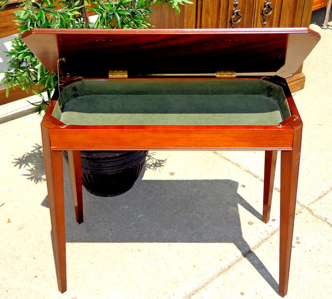 Antique Solid Wood Display Table with Storage Compartment.  31 x 16 x 26.  <b>$175</b>