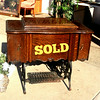 Damascus Antique Treadle Sewing Machine in Quarter Sawn Wood Cabinet.   35 x 19 x 31.  <b> $150</b>
