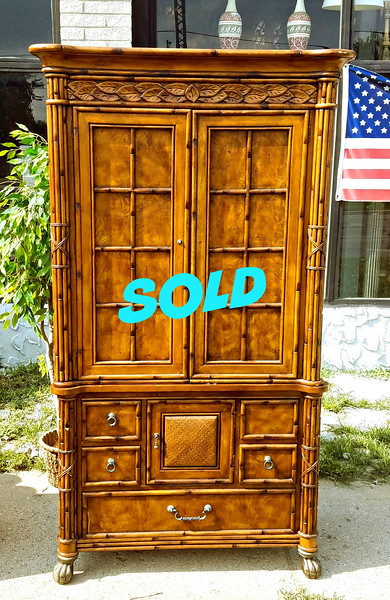 Carved Wood TV Armoire