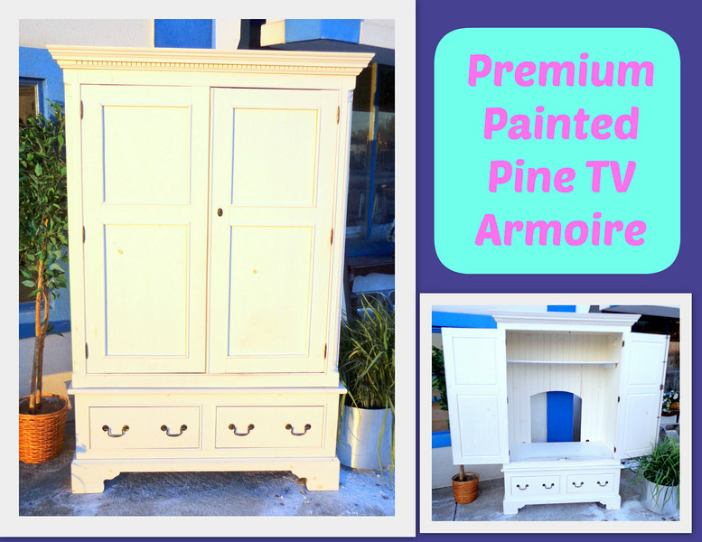 Extraordinary Premium Painted Pine Solid Wood TV Armoire. Could Easily Be  Turned Into A Warbrobe
