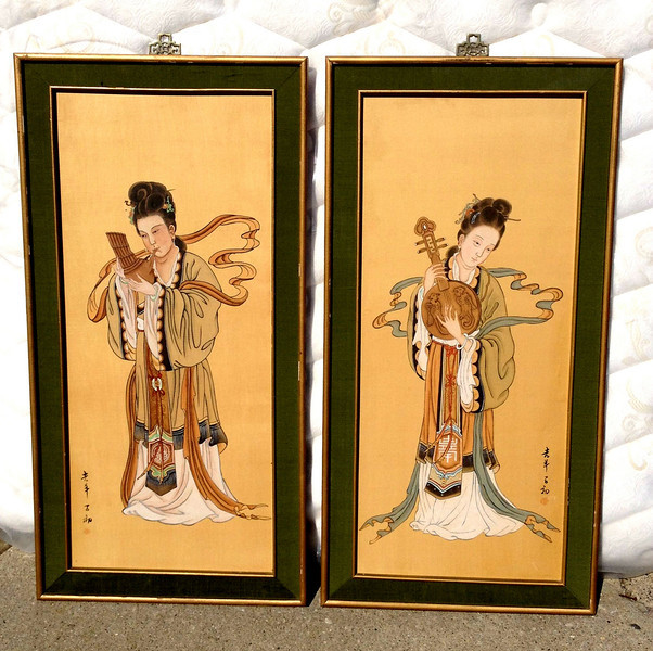 Set of 2 Chinese Musicians Framed Wall Art Pieces.  20 x 40.  <b></b>