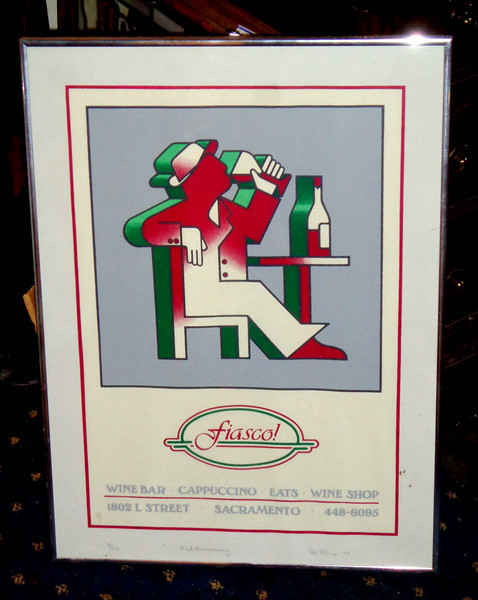 Sacramento's Fiasco Wine Bar First Anniversary Commemorative Signed Lithograph.  31/250.  Hand-signed by the artist.  1983 <b>$50</b>