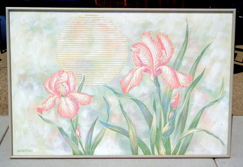 Large Dimensional Pink Iris with Japanese Paper Lantern Art by Anderson.  61 x 41.  <b>$85</b>