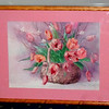 1987 Tulips Needlepoint Art by Barbara Mock Hand Signed by the Artist.  21 x 17.  <b>$75</b>