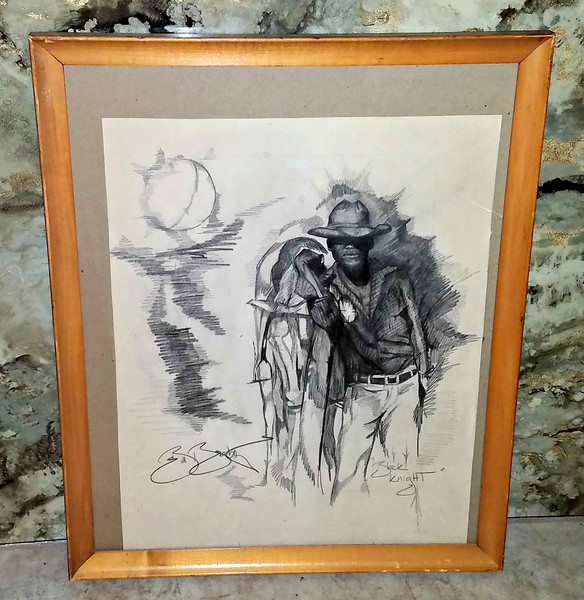 African American Cowboy Original Pencil Art