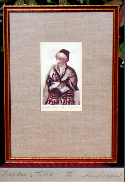 <i>Zaydee's Tallis</i> - Hand-Signed Limited Edition Framed Lithograph by Friedman.  15 x 22 1/2.  <b>$125</b>