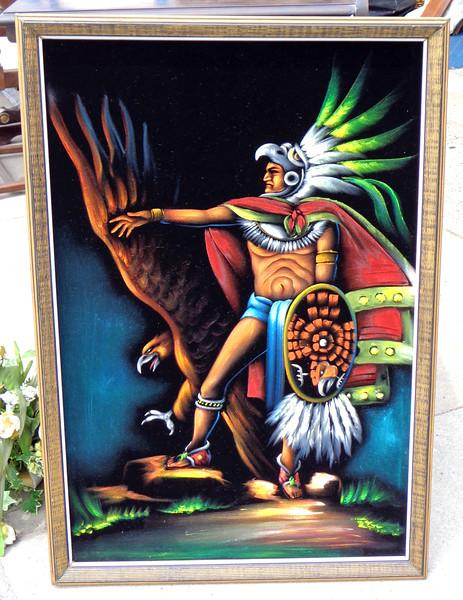 <i>Guerrero Aguila </i>- Mexico Aztec Warrior Black Velvet Oil in Frame. Excellent Condition.  26 x 37.  <b>$125</b>
