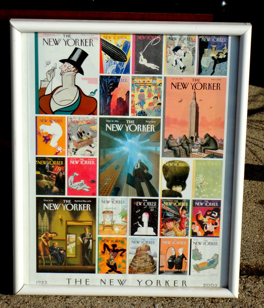 Unique Montage of New Yorker Magazine Covers Framed Art  (1925 - 2003).  17 x 21.  <b>$30</b>