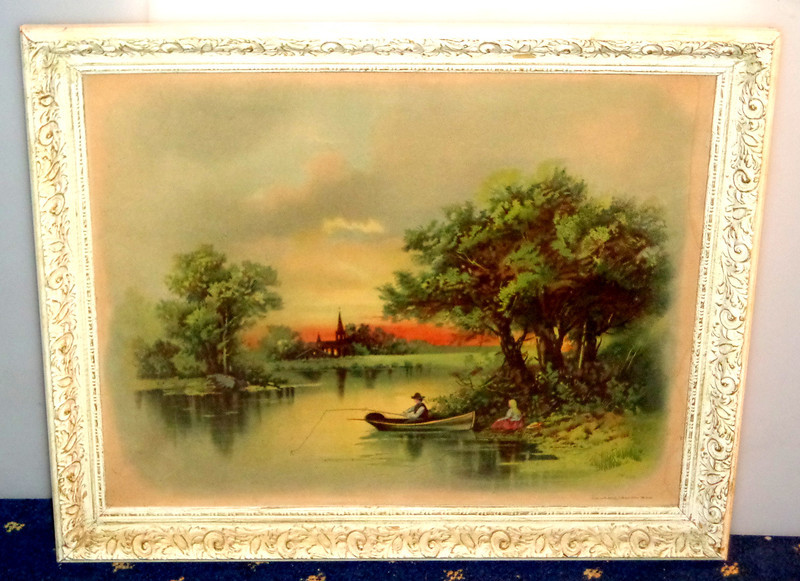 """Pastoral Fishing Scene """"Sunset in Kentucky"""" Framed Art.  Copyright 1897 by J. Hoover.  23 x 19.  <b>$65</b>"""