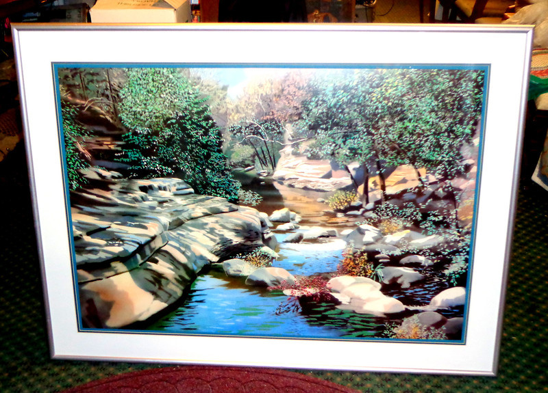 Large Dazzling Nature Scene in Frame.  Enlarge this picture and begin to appreciate this amazing work.  Even then, pictures simply cannot do this piece justice. And when you finally see it in person, you're definitely going to want to buy it and display it prominently in your fine home. Webmaster Choice.  56 x 42.  <b>$165</b>