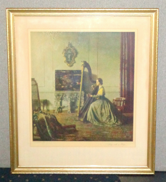 "<i>Lady With A Harp</i> or <i>The Harpist</i> by Leonard Campbell Taylor   ~ Signed Lithograph.  Signature on lower left matting ""Leonard Campbell Taylor RA.""    Leonard Campbell Taylor was born 12th December, 1874 in Oxford. He was an English painter of subject pictures, portraits, and interiors with figures. He first studied at the Ruskin School, Oxford, and then at the St John's Wood School of Art in London and at the Royal Academy School starting in 1905.  He exhibited in London and Paris, working in a careful, traditional manner and ignoring the modern modes of art around him. Among other things, he did portraits of wealthy patrons like the Courtaulds. The artist lived in Suffolk. Died 1969.  This beautiful antique piece is titled ""Lady with a Harp"" on the back. The artist's signature appears within the image in the lower left corner.  Upper matting inscribed ""Published in 1937 by Frost & Reed Fine Art Publishers Bristol & London, England Rudolf Lesh Fine Arts, Inc. New York.  Copyright in all countries.""  Classic work by Campbell.  The chest behind the lady playing the harp is a Chinese Coromandel Lacquered Chest and was the property of The Duchess of Rutland. Its stand is a Charles II silvered carved wood stand. The gold frame mirror looks as though it could be Italian/French and according to the V&A Museum in London can be dated at about 1600.The harpist is wearing a green dress with yellow cape. 27 1/2 x 32.  <b>$225</b>"