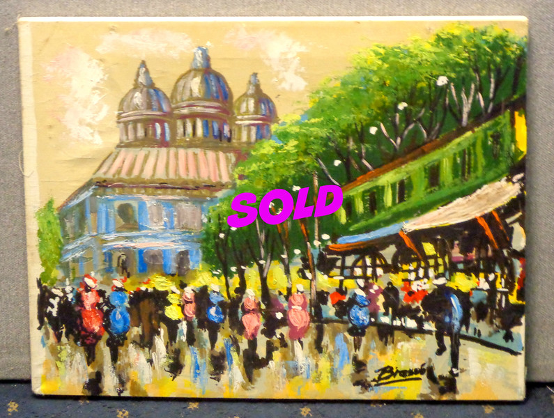 Unframed Festive Street Scene Original Oil on Canvas.   21 x 14.  <b>$25</b>