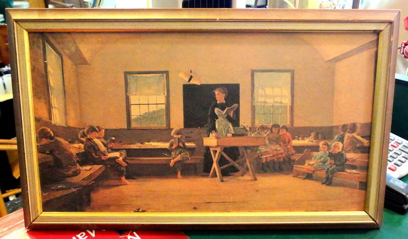 Vintage Schoolhouse Teacher Teaching Children's Class.  22 x 14.  <b>$45</b>