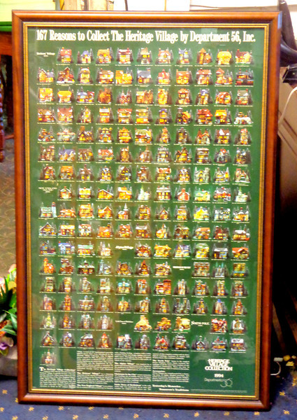 Department 56 ~ Heritage Village Collection 1994 Framed Poster Art.  Dickens' Village Series.  Entitled <i>167 Reasons to Collect the Heritage Village by Department 56, Inc.</i>  A must for any collector of these fine pieces.  Like new condition.  26 x 40. <b>$95</b>