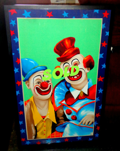 <i>Bring In The Clowns </i> - Bold Color Framed Art Print.  Remember when clowns used to be funny?  This print is sure to terrify and haunt your dreams.  A great conversation piece.  24 1/2 x 40.  <b></b>